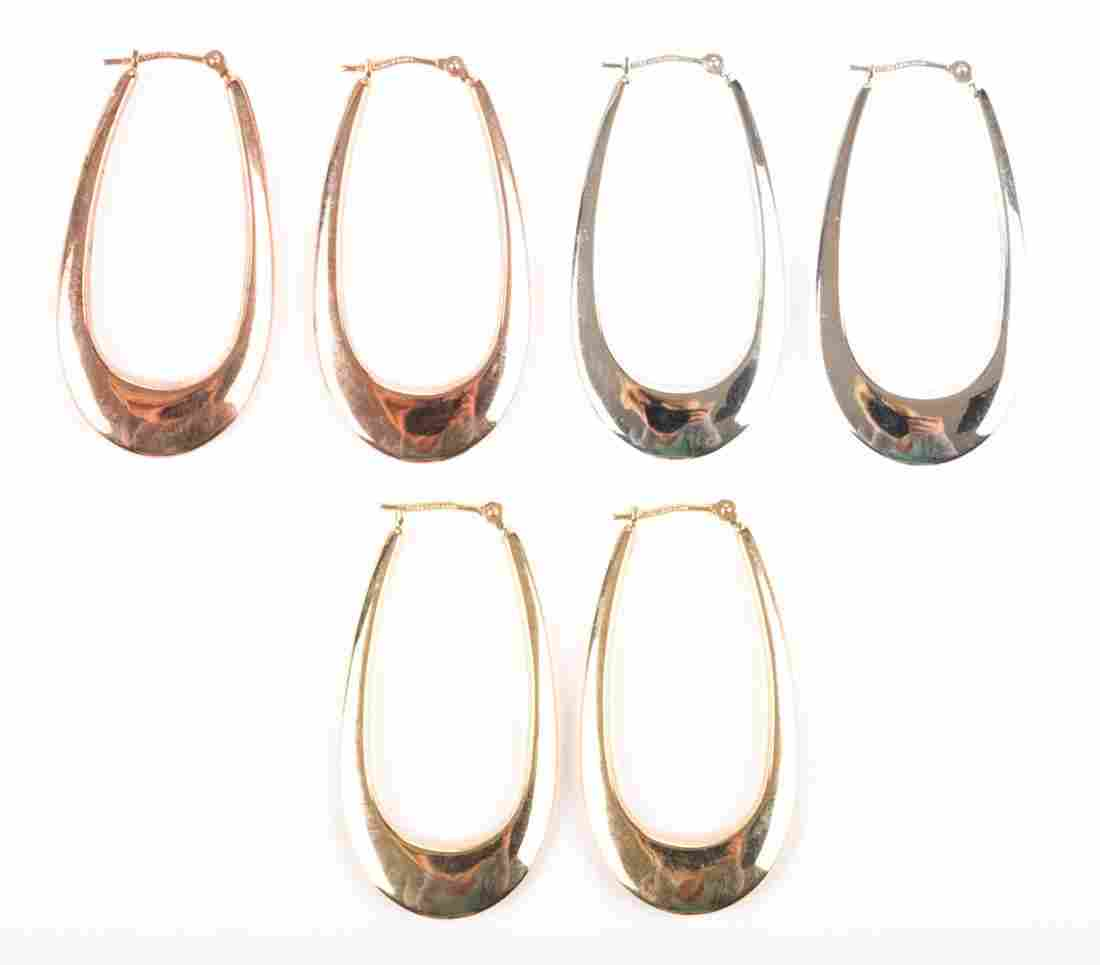 Three Pairs of Lady's 14K Gold Hoop Earrings