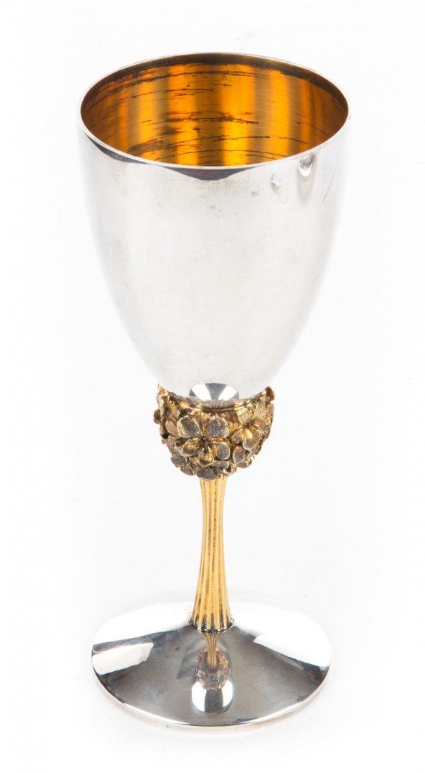 Stuart Devlin sterling & silver- gilt wine goblet