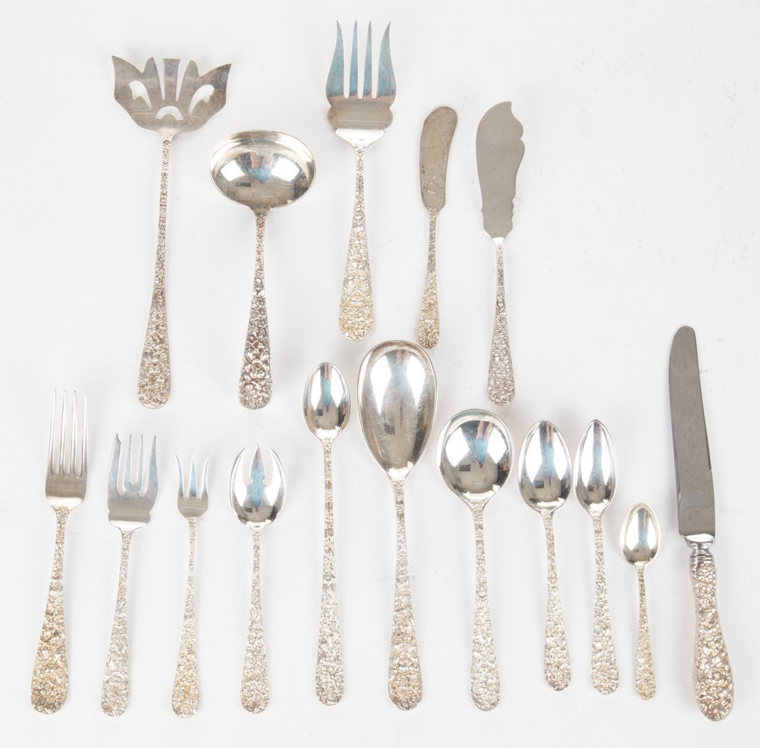 """Stieff """"Rose"""" sterling flatware service for eight"""