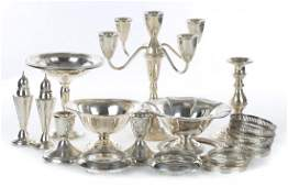 Assorted weighted sterling silver table articles