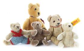 Five small jointed mohair teddy bears