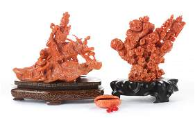 Two Chinese carved coral figural groups