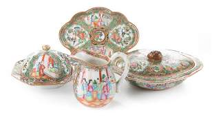 Four Chinese Export Rose Medallion serving pieces