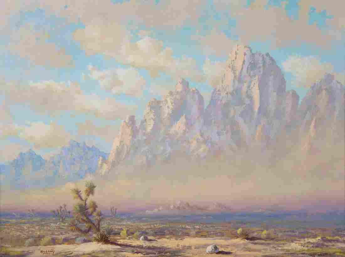 """Thomas L. Lewis. """"Taos,"""" oil on canvas"""