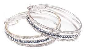 A Pair of Pave Diamond  Sapphire Hoop Earrings
