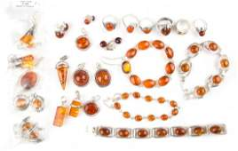 A Collection of Amber Jewelry in Sterling Silver