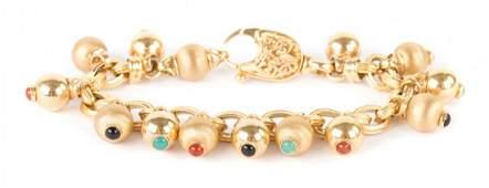 An 18K Gold Ball Bracelet