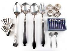 Group of sterling silver and plated tableware