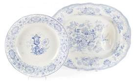 Staffordshire transferware platter and bowl