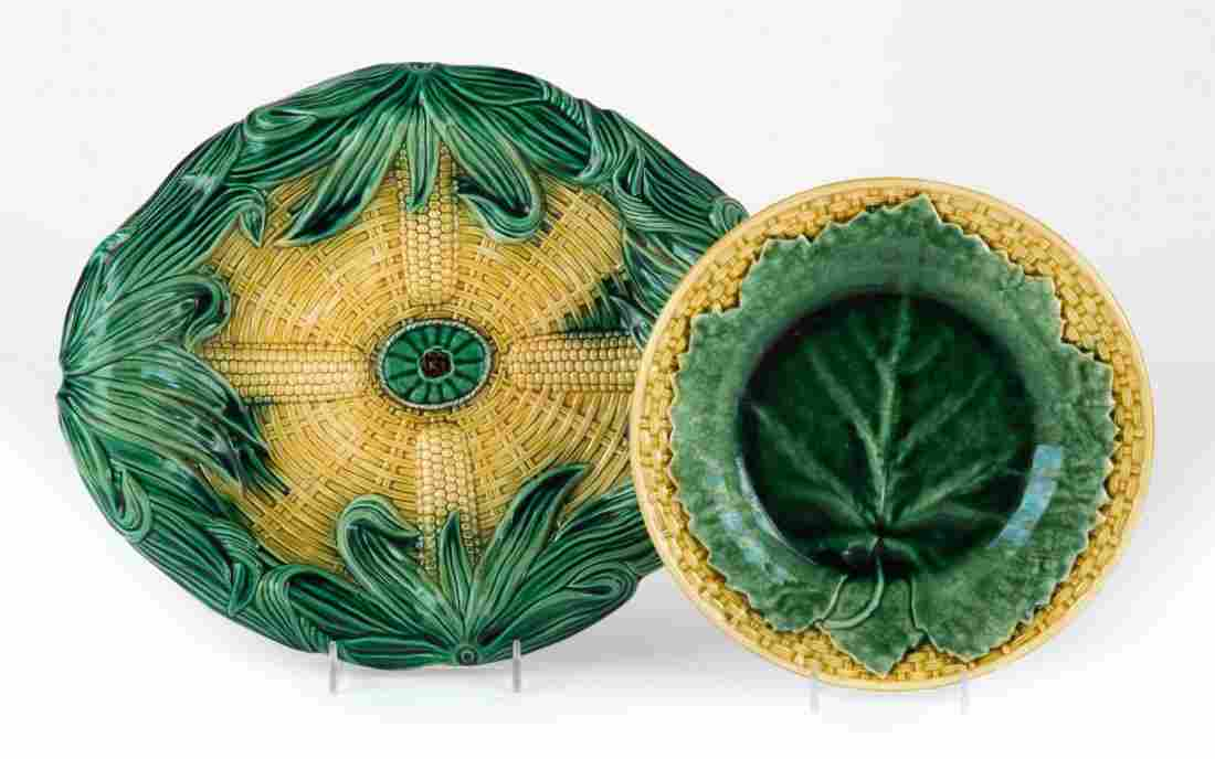 Two English Majolica table articles