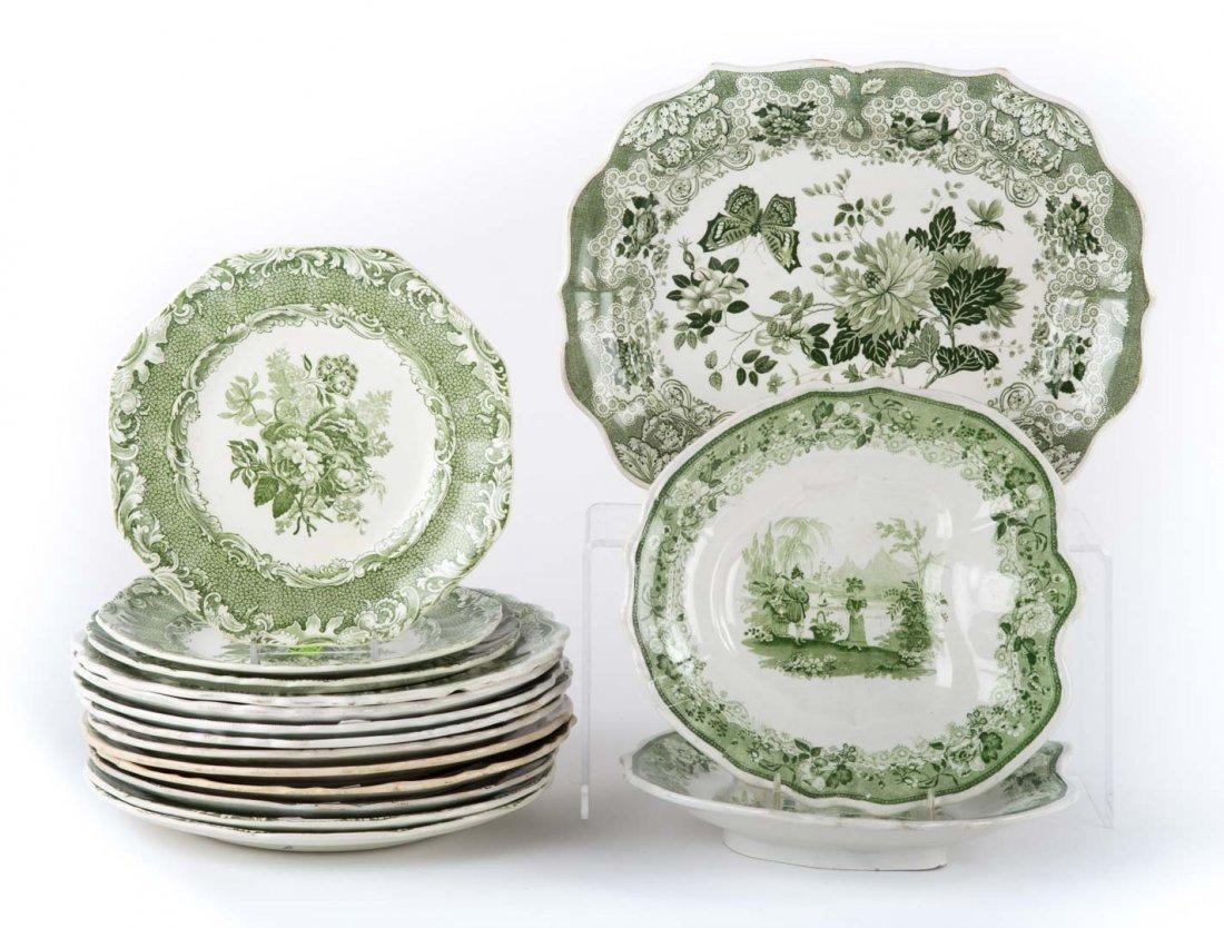16 Staffordshire green transferware table articles