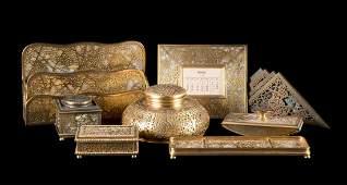 Tiffany giltbronze Grapevine pattern desk set