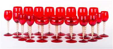 24 Venetian ruby glass stems