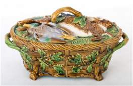 Minton majolica game tureen