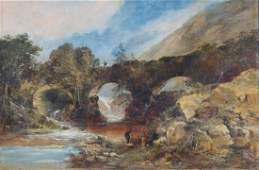 "Thomas C.R. Dibdin ""Pont-Y-Pair, North Wales,"" oil"