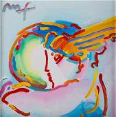 """Peter Max. """"I Love the World,"""" acrylic on canvas"""