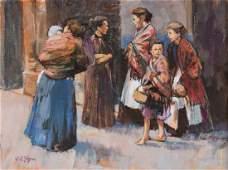Dianne Flynn, Women in the Street, oil