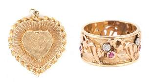 A Ladys Gold Locket and Ring