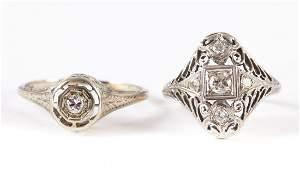 Two Ladies' Art Deco Filigree Diamond Rings