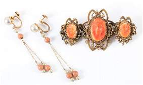 A Victorian Coral Brooch and Linear Coral Earrings