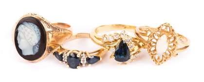Four Gold Gemstone Ladies Rings