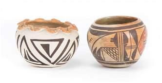 Two Pueblo polychromed pottery vase