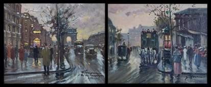 Francois Gerome. Pair of Paris Scenes, oils