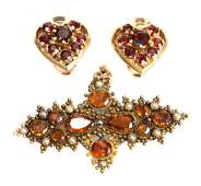 A Pair of Gold Garnet Earrings and Victorian Pin