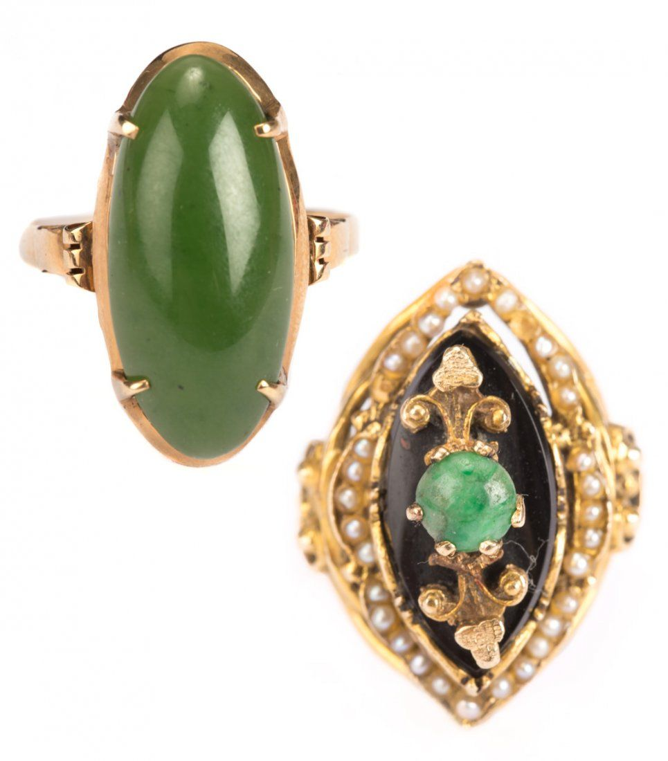 Two Lady's Jade Rings in 14K Gold