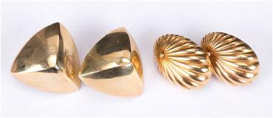 Two Pair of 14K Gold Earrings