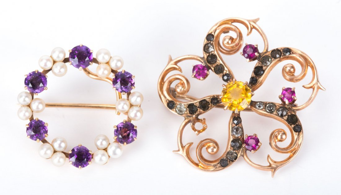 A Pair of Lady's Gemstone Brooches