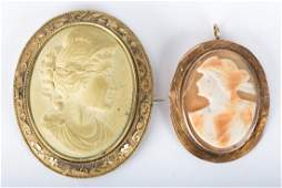 A Pair of Hand Carved Cameo Brooches