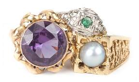 A Trio of Ladys Gold Gemstone Rings