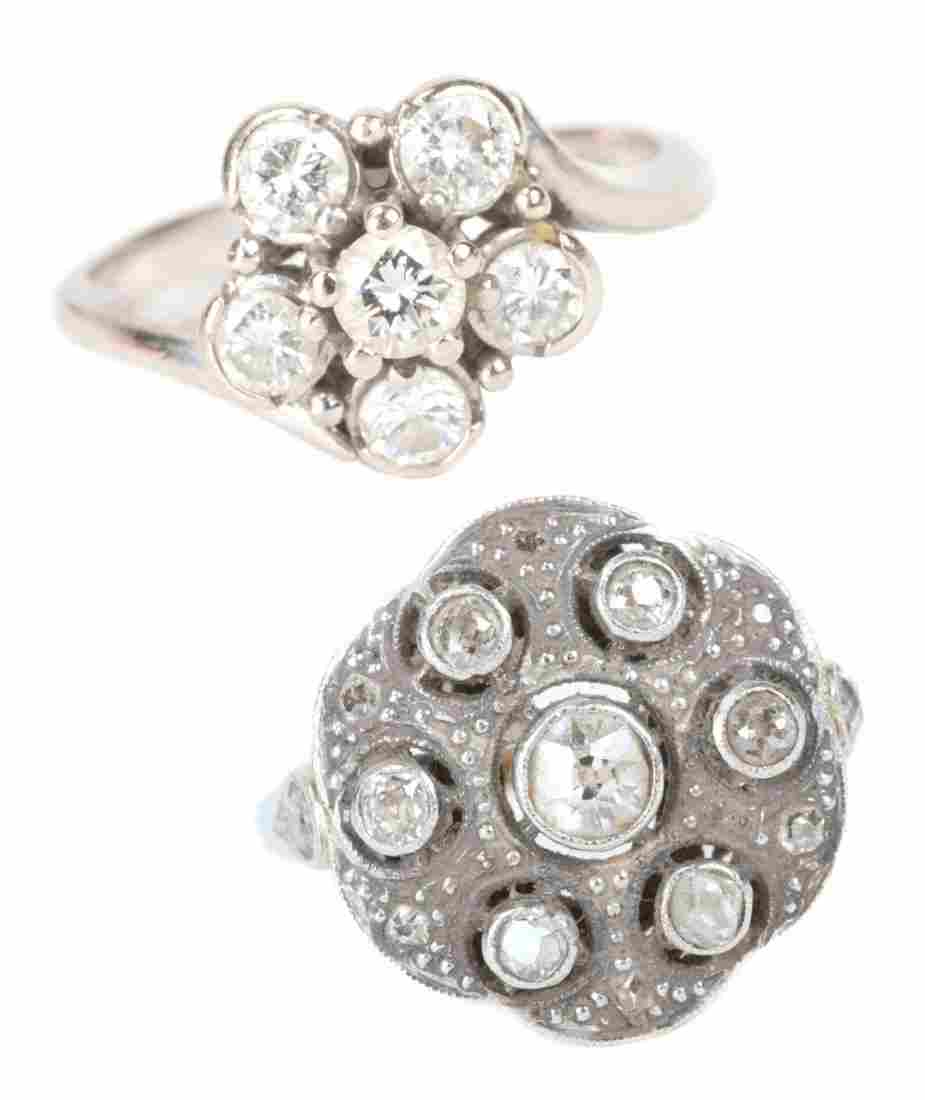 A Pair of Lady's Diamond Cocktail Rings