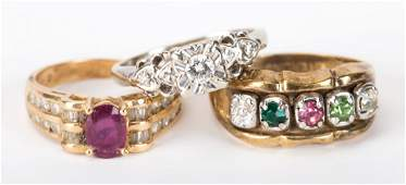 A Trio of Lady's Gemstone Rings