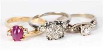 A Trio of Ladys Diamond and Gemstone Rings
