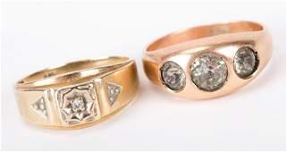 Two Gold Gentlemens Rings
