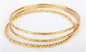 A Trio of Ladys Gold Bangles