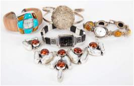 A Collection of Silver Amber Jewelry and Watches