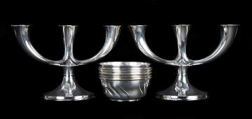 Art Nouveau German silver candelabra and bowls