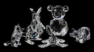 Five Swarovski crystal animals
