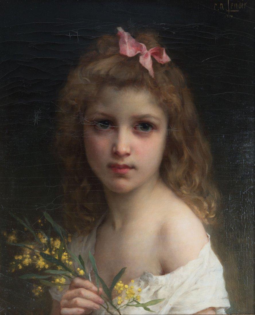 Charles-Amable Lenoir. Girl Holding Flowers, oil
