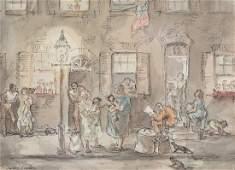 Aaron Sopher. Baltimore Street Scene, watercolor