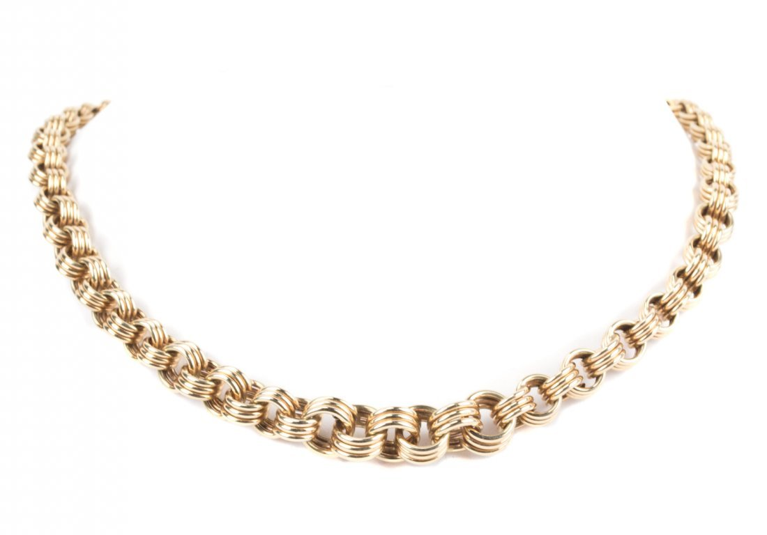 A Heavy Gold Triple Link Necklace