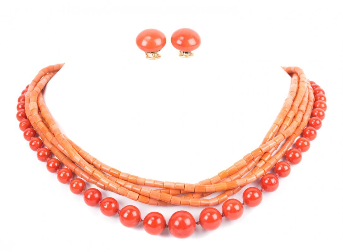 Two Coral Necklaces and Matching Earrings