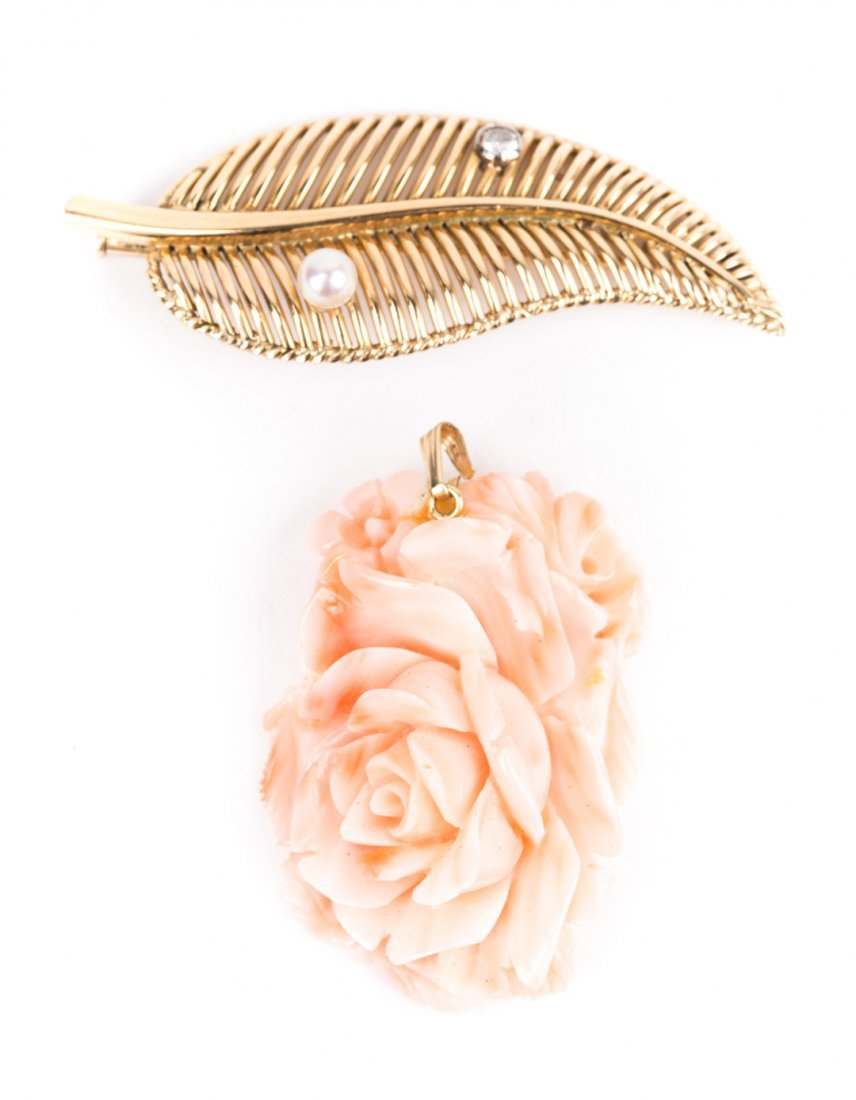 A Gold Leaf Pin and Hand Carved Coral Pendant