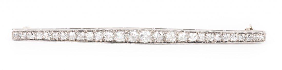 A Classic Platinum Diamond Bar Pin
