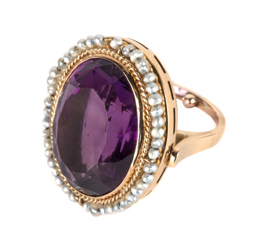 A Gold Amethyst and Seed Pearl Ring