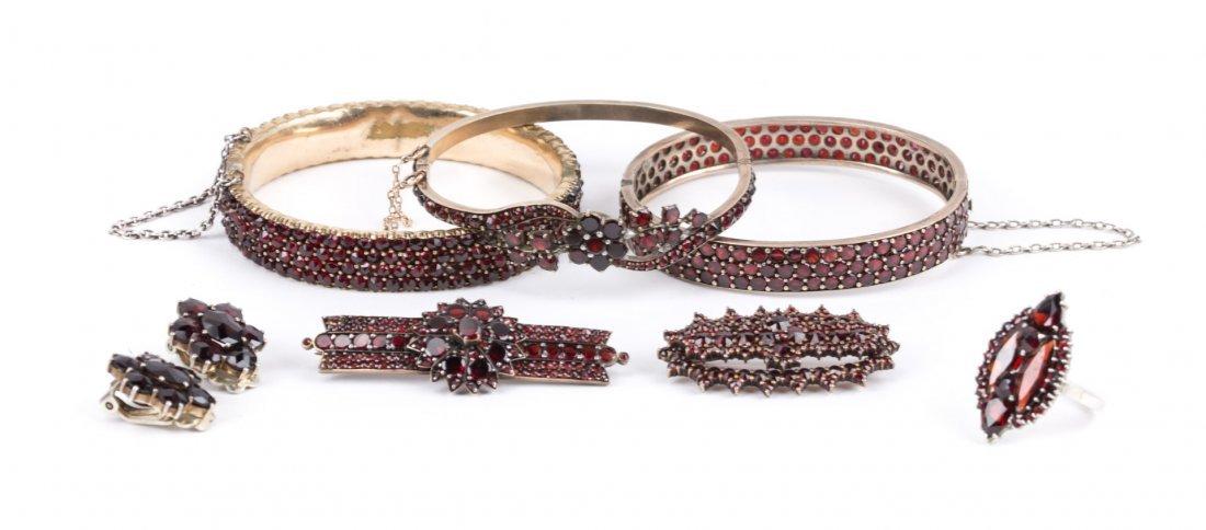 An Assortment of Bohemian Garnet Jewelry