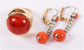 A Lady's Gold Coral Ring and Earrings